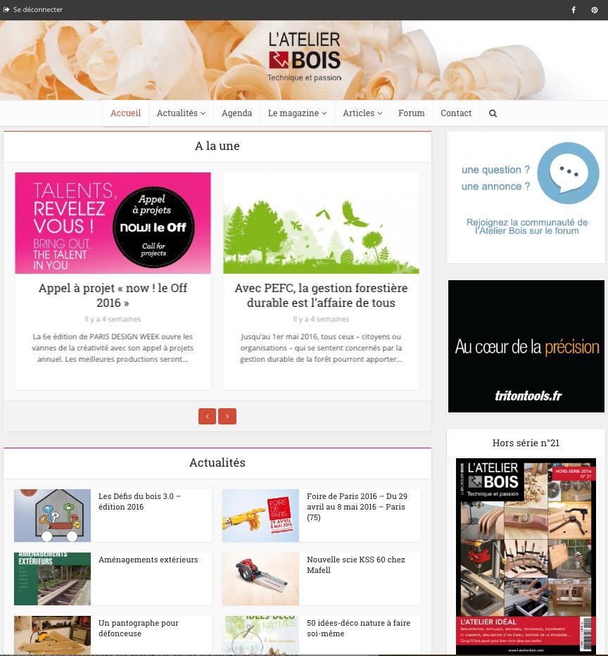 Capture d'écran du site l'Atelier Bois