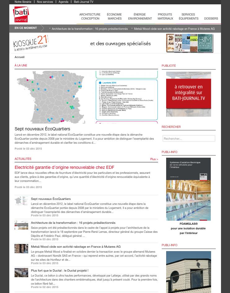 Capture d'écran du site Bati-journal.com